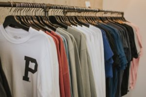 assorted-color hanging t-shirt