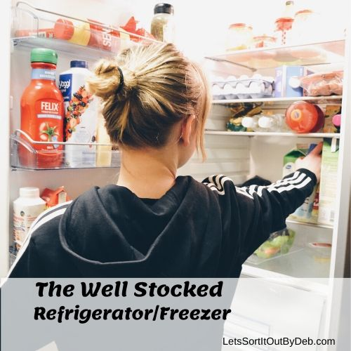 Girl Looking at The Well Stocked Refrigerator and Freezer