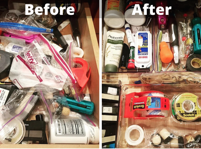 before and after cleaning images of a messy junk drawer and the organized results